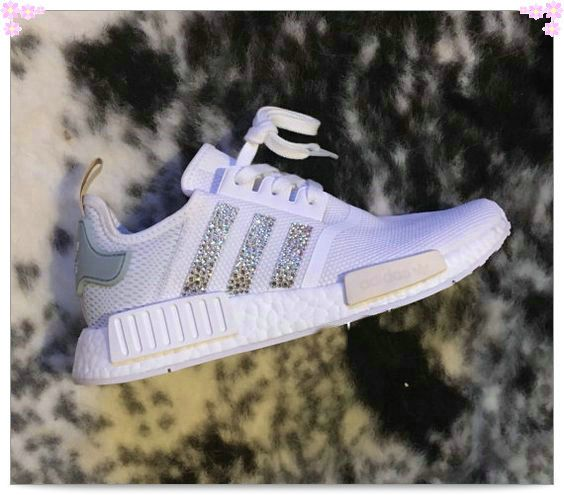 b0f96e7fe2b2 Over 70% Discount Off Glitter Authentic Adidas Stripe NMD Sneakers Adidas  Sripes logos SWAROVSKI Crystals Blinged White