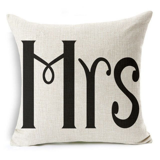 Hyha Valentine\u0027s Day Gift Letter Cushion Cover Her and His Side LOVE