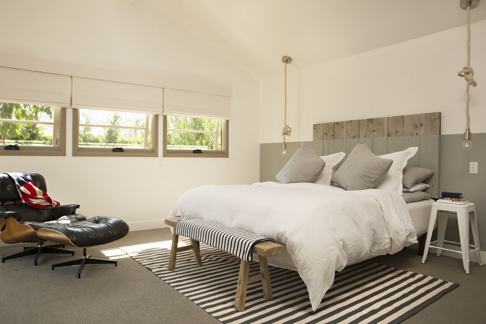 Modern Rustic Bedroom: Rough Hewn Wood Plank Headboard, Lower Portion Of  Headboard And Wall Painted Gray;