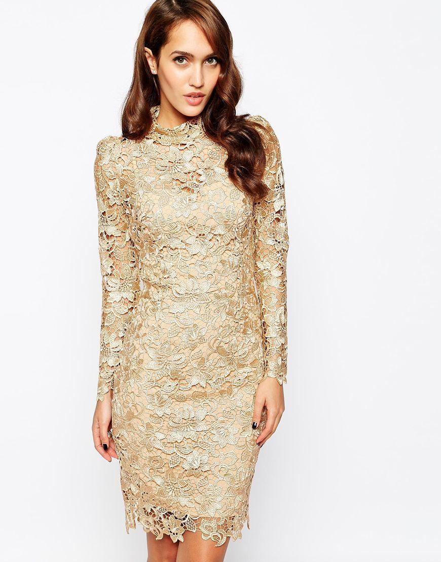 Champagne long sleeve crochet lace dress dresses pinterest