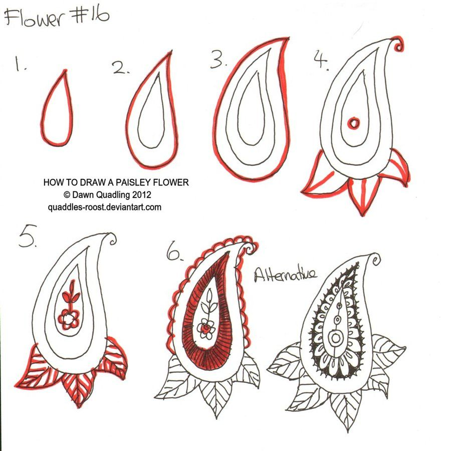 How To Draw Paisley Flower 16 By *quaddlesroost