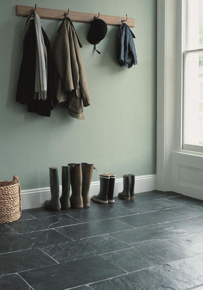 Soft green walls w Silver Blue slate H O M E Interior design