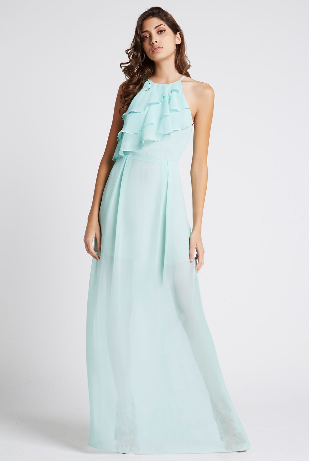 5c3a905df95 Flowy Ruffle Front Maxi Dress