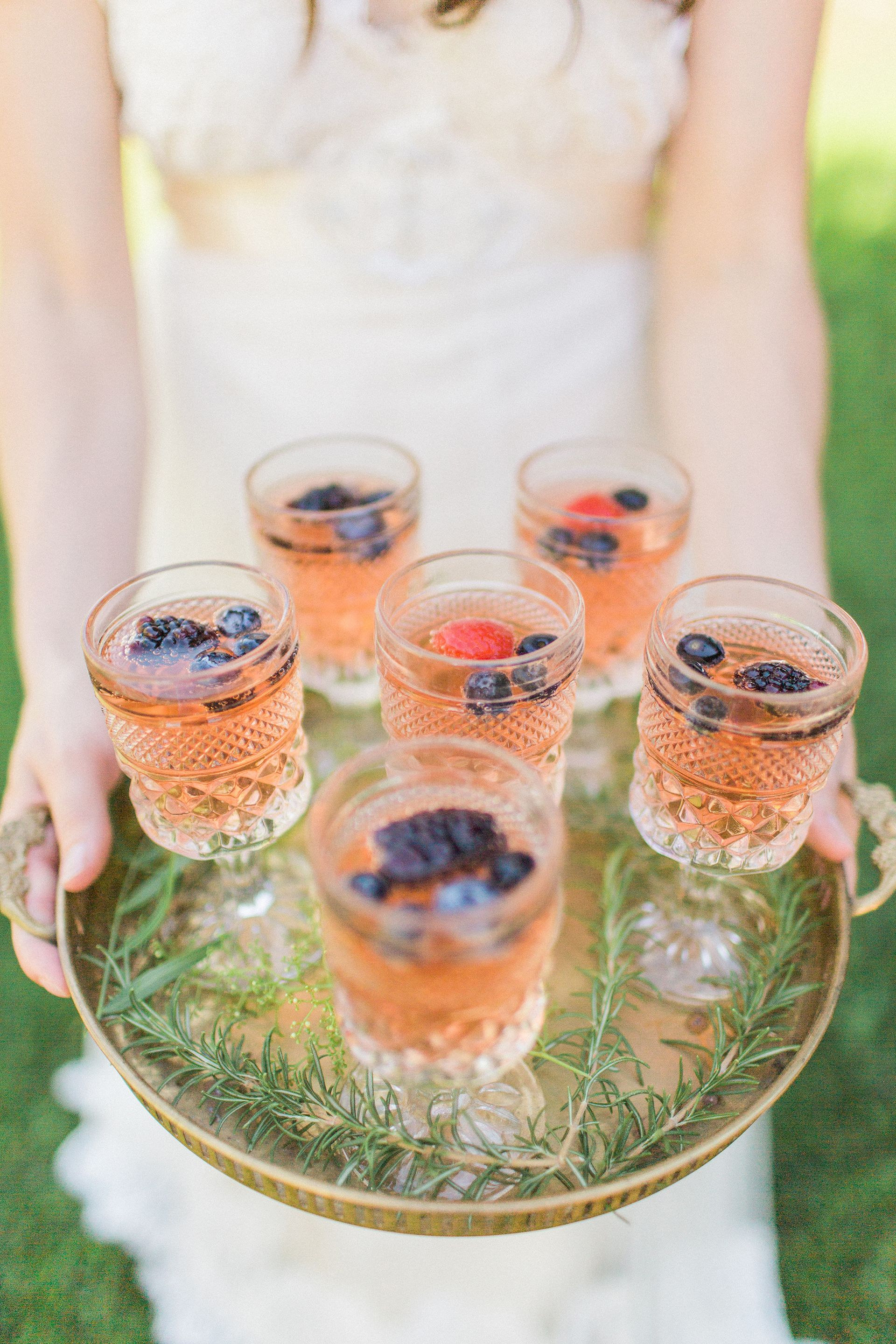 Wedding Reception Drinks, Cocktail Hour, Pink Drinks With Berries, Crystal