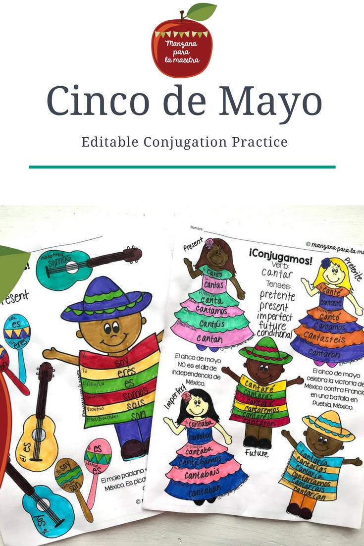 Cinco de Mayo Conjugation Practice EDITABLE Worksheet End ...