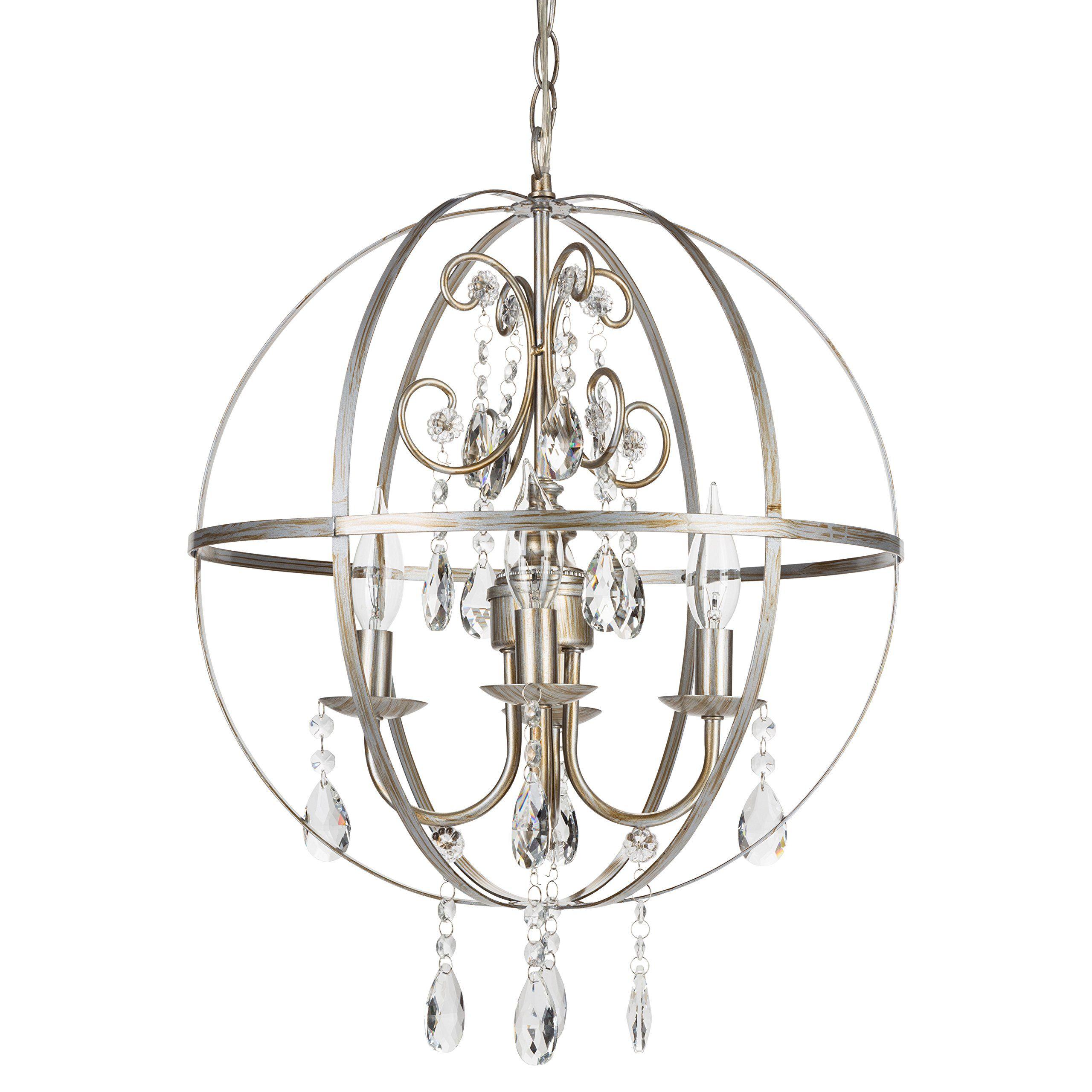 Luna Vintage Silver Orb Crystal Chandelier Metal Round Sphere Swag