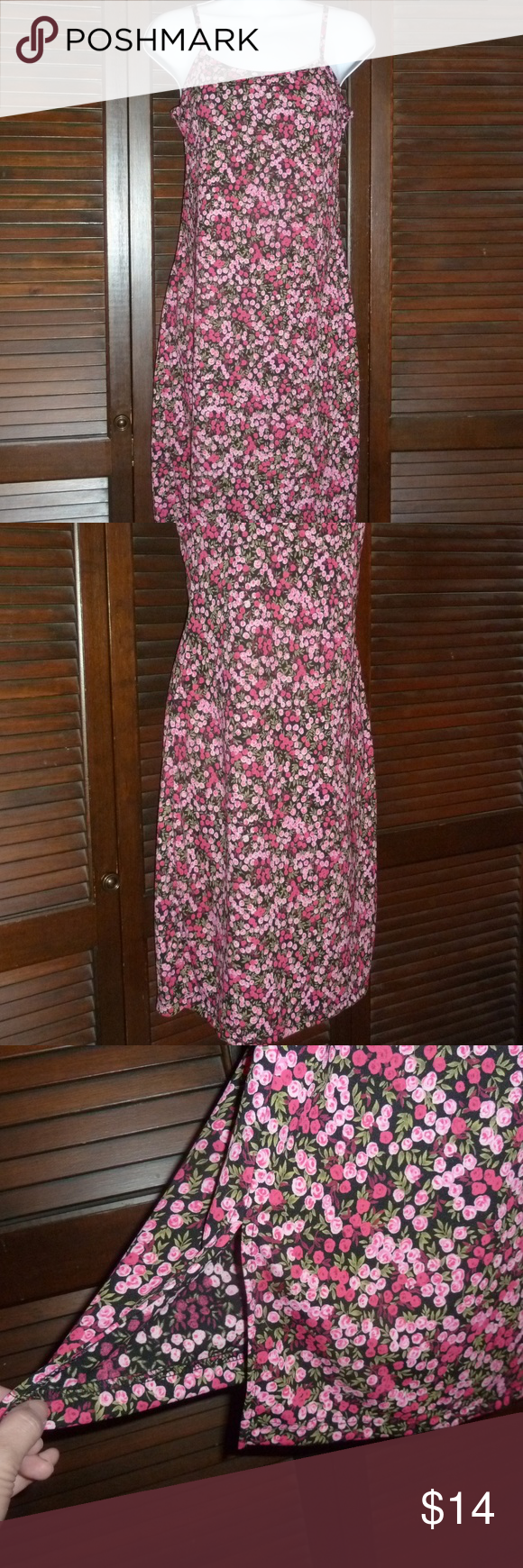 "BYER TOO! Short Floral Dress, Red Pink Roses, L RED & PINK ROSES, SLEEVELESS SPAGHETTI STRAP DRESS By BYER TOO!, SIZE LARGE  Very cute dress in great condition. Has 6"" slits up each side of the skirt. The bust is lined. The straps are non-adjustable. Material has some stretch. Easy pull on style. No zippers or buttons.  Length: approx. 39"" (about knee length)    Waist: about 14"" across, lying flat  100% Polyester, Machine Wash Cold Byer Too! Dresses"