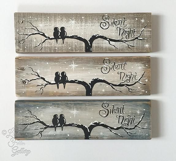 Love Birds on a Silent Night - Reclaimed Wood Sign #palettendeko