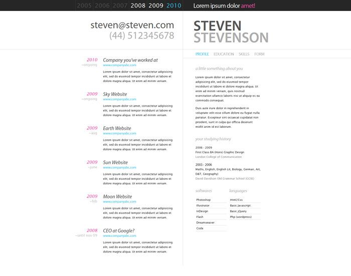 Great CV Resume Single page sites Aaron Dodson Design - single page resume