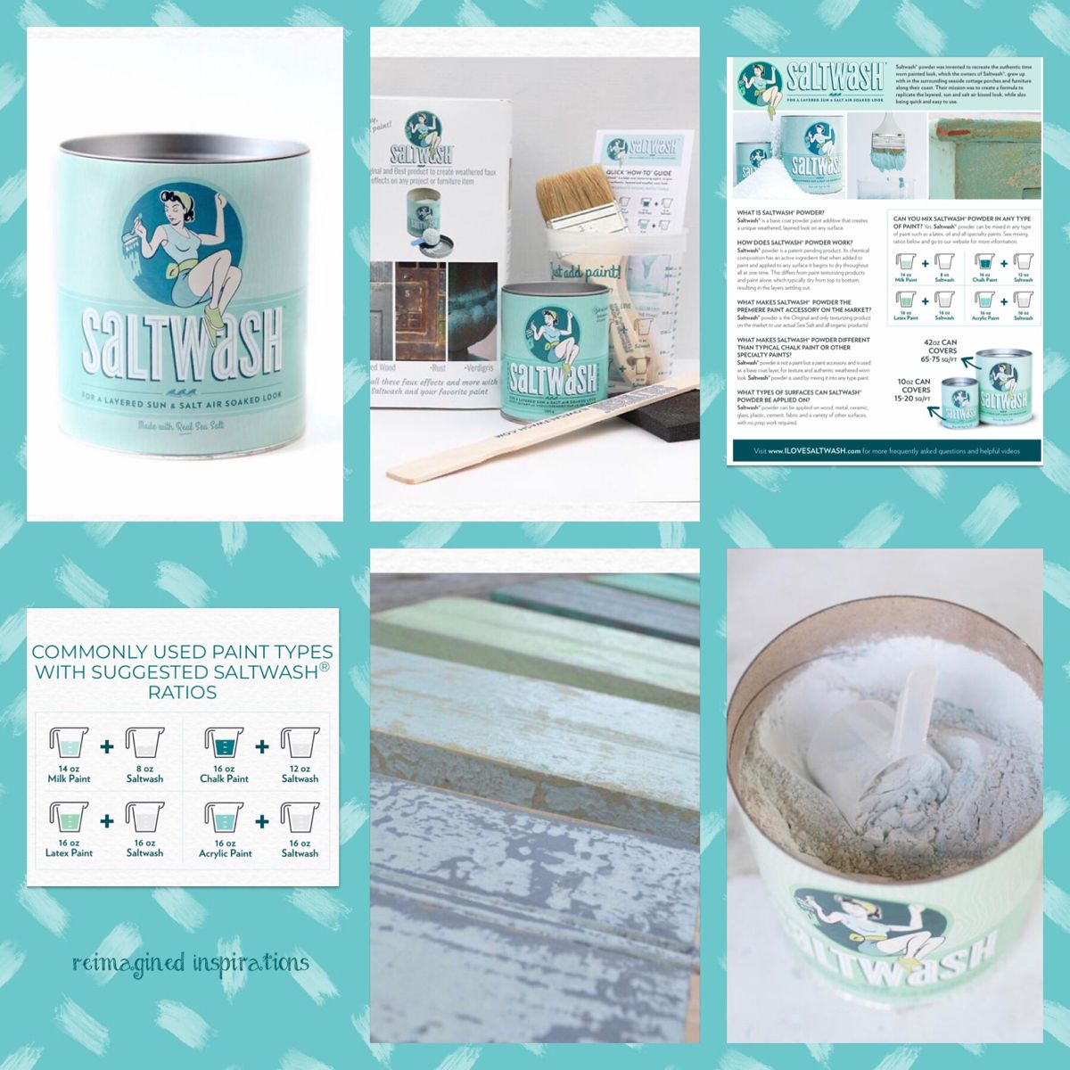 Saltwash is an amazing product! You can add it to any paint and get amazing texture on your projects. I use it on furniture, candle sticks, planters, pictures frames and mirrors....just to name a few things! You can get yours at Dusty Road Merchants at the Reimagined Inspirations booth 5 S Madison Street Oswego, IL #diy #paintedwinebottles #paintedfurnitureideas #chalkpainted #furniturepainting #texture #textureadditive #beachhousedecor #layeredpaint