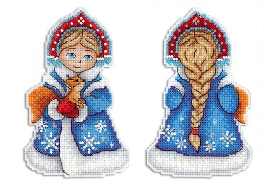 Photo of Christmas toy on plastic canvas – cross stitch kit Snow Maiden