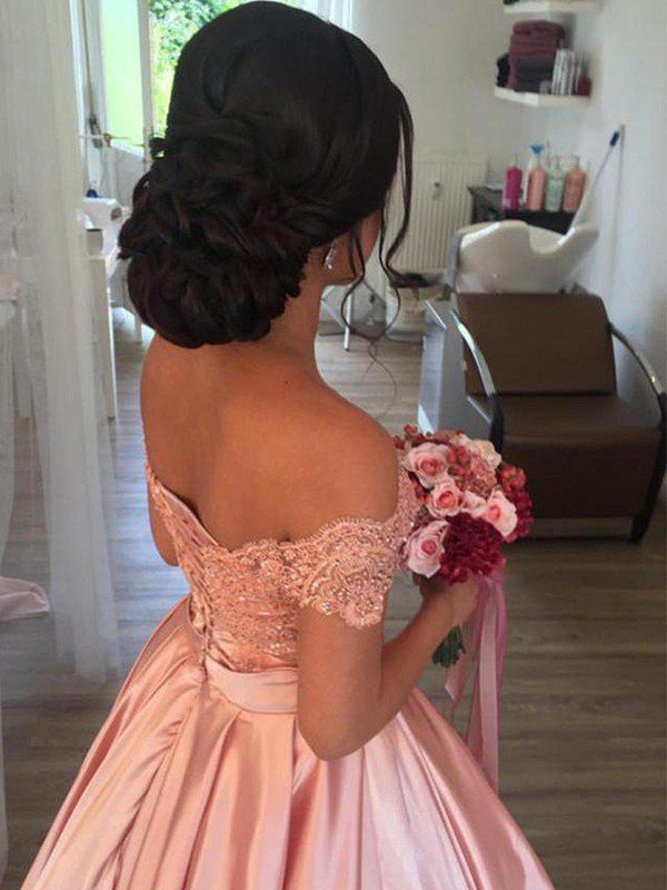 Ball Gown Sleeveless Off The Shoulder Satin Ruffles Cathedral Train Wedding Dresses Quince Hairstyles Hair Styles Sweet 16 Hairstyles