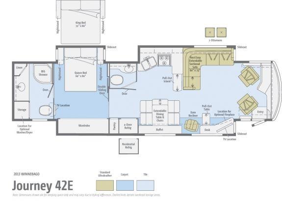 Bath and a half floor plan journey 42e winnebago for Half bath floor plans