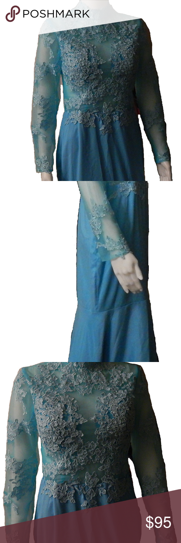 New aqua color sheer lace prom dress size nwt aqua color
