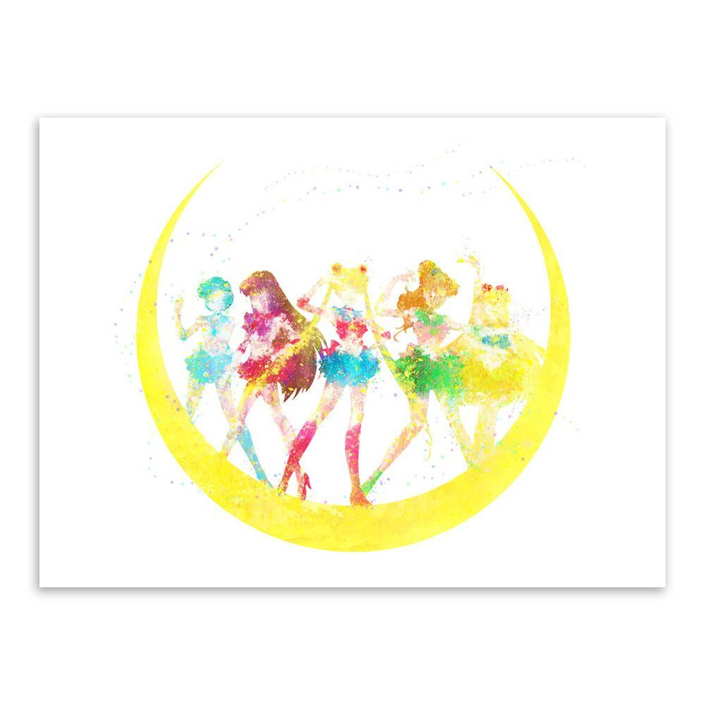 Original Watercolor Sailor Moon Japanese Anime Movie Poster Print ...