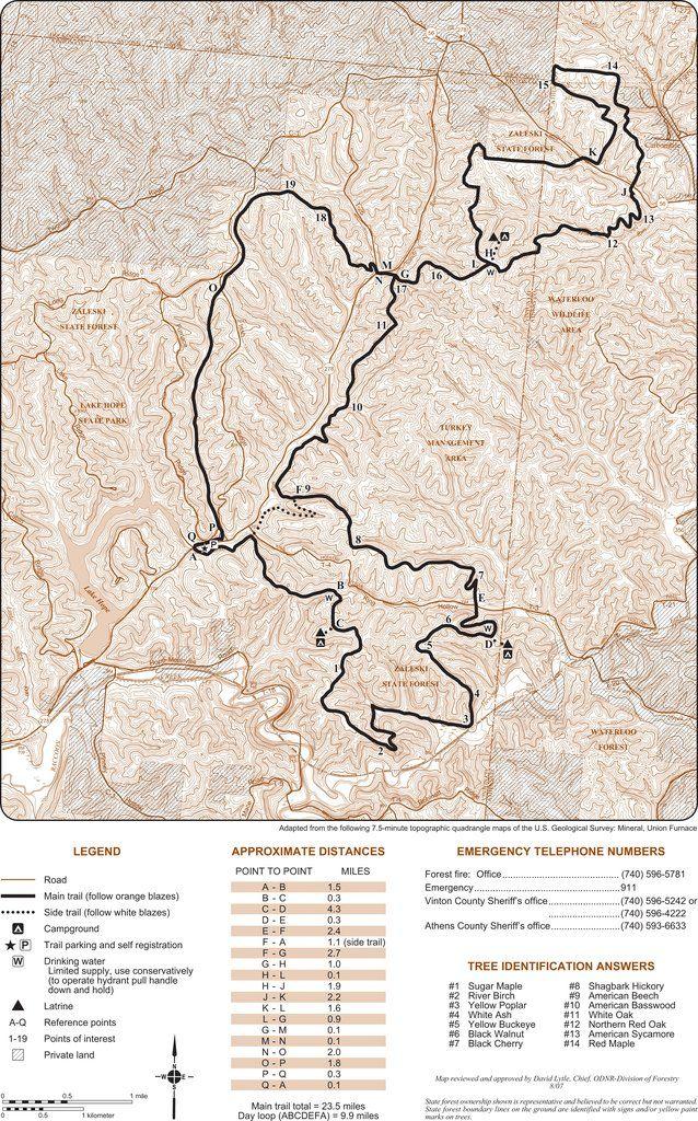 Zaleski State Forest Backpack Trail Map Trails Pinterest