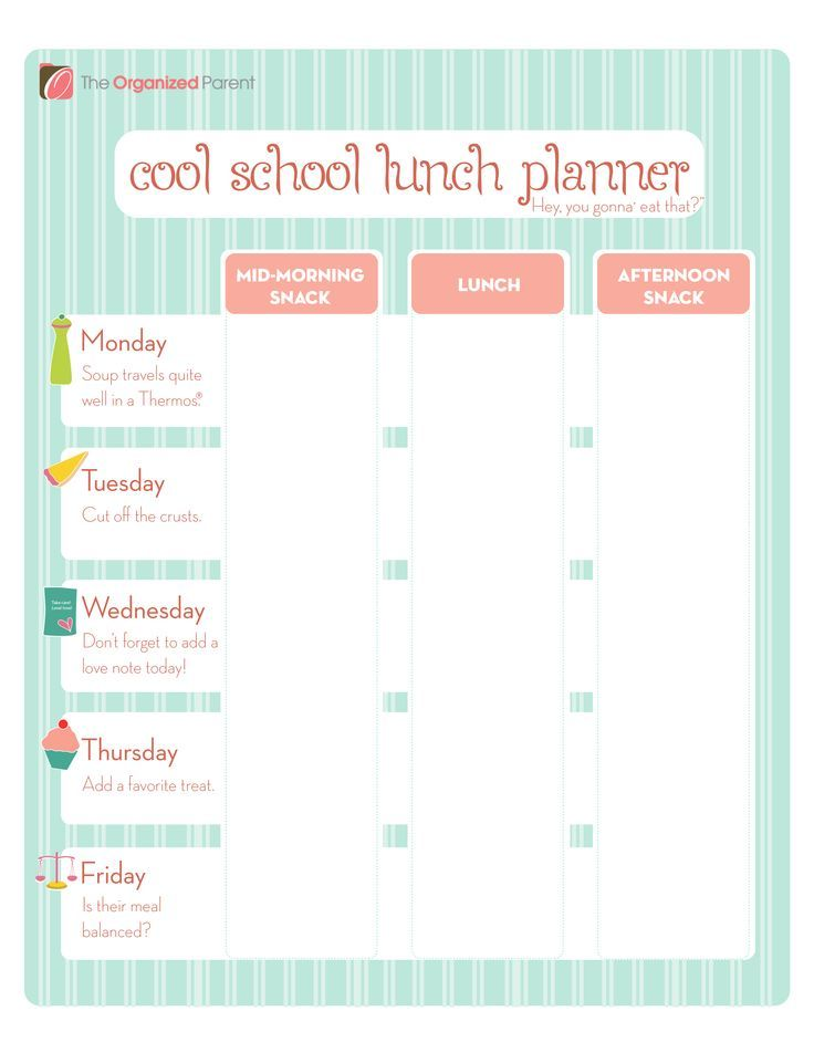 Free Printable School Lunch Planner Lunch Planner Kids Lunch