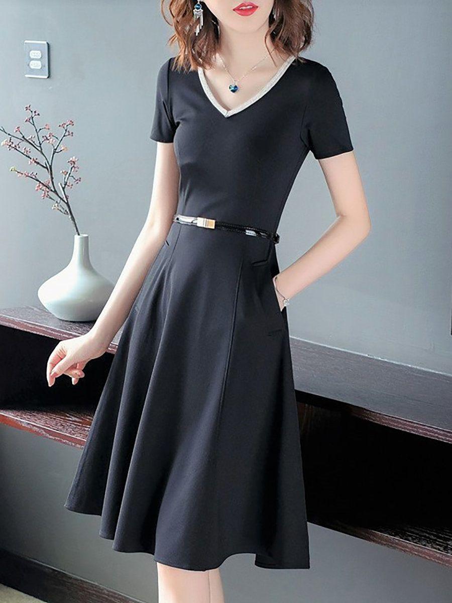 Stylewe V neck Black Midi Dress Date Dress Short Sleeve