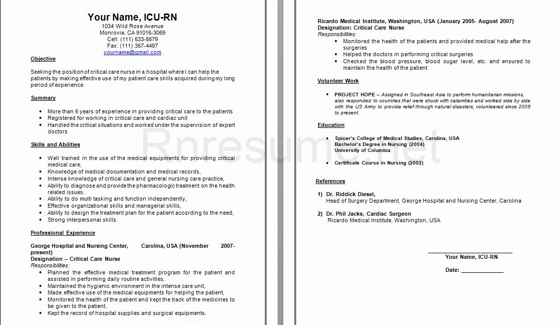 Icu Nurse Resume Example Best Of Pin by Rn Resume On Rn