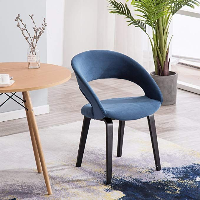 Yimiga Dining Chair With Open Back Blue Mid Century Modern Arm Chairs Black Wood Legs Velvet Upholstered Fabric For Kitchen Bedroom Room