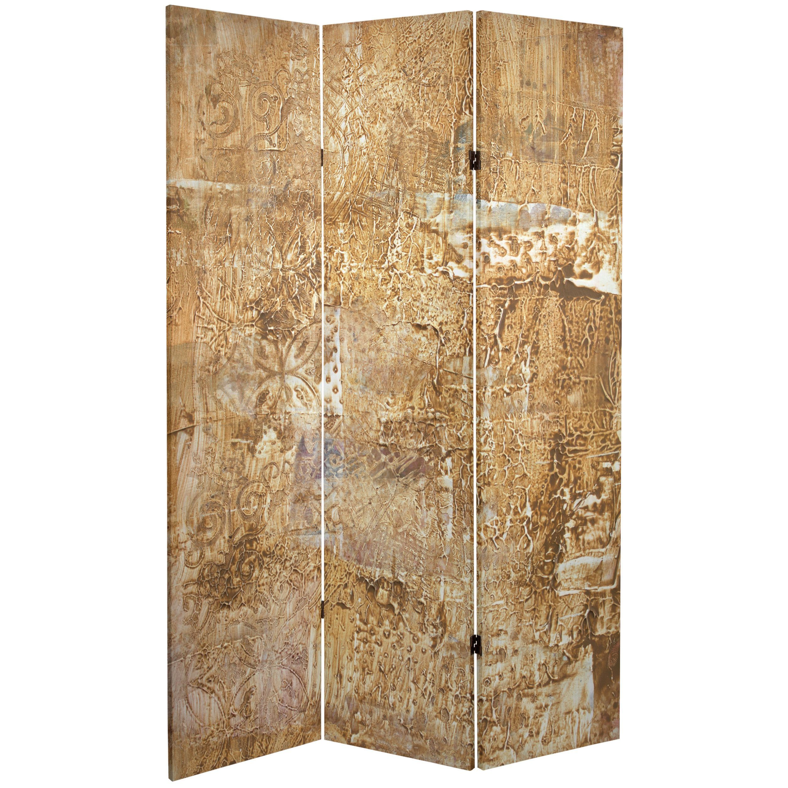 Oriental Furniture Double Sided Sandy Meadow 6 Foot Tall Canvas Room Divider Multi