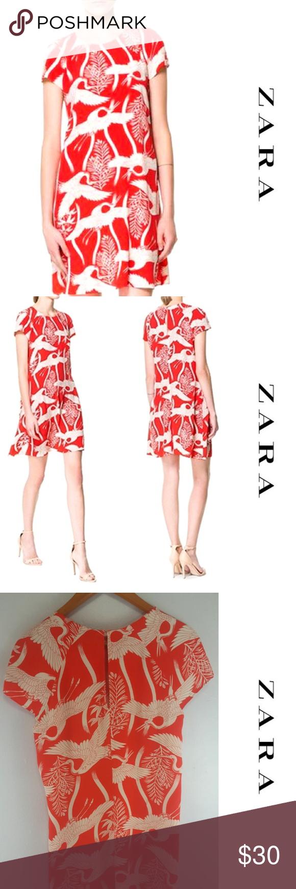 fb80fddd Zara ~ Red Cranes Shift Dress Zara short-sleeve swing dress in a ...