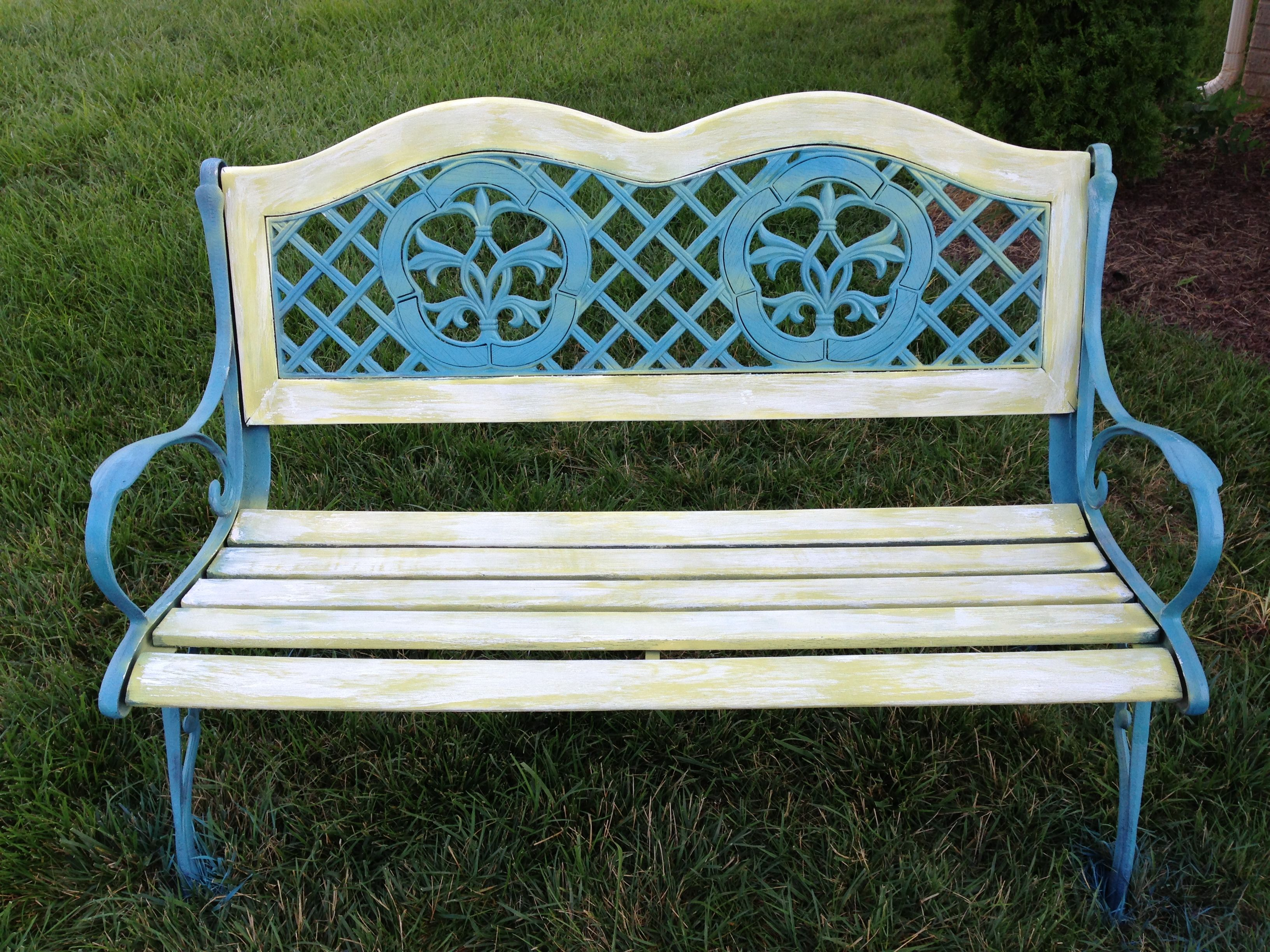 Refinished bench What you need: Sandpaper Spray paint Outdoor ...