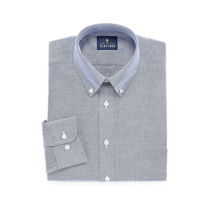 d13c89498d863 Stafford Travel Wrinkle-Free Stretch Oxford Long-Sleeve Dress Shirt - Big  and Tall