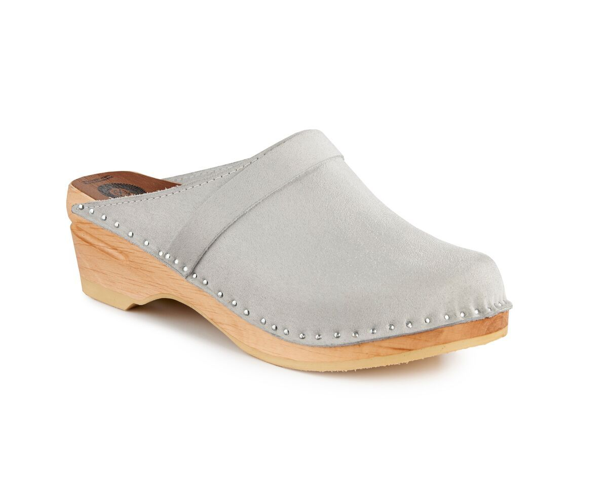 3540943cd357 DAVINCI in GREY SUEDE – ORIGINAL SOLE -perfect for fall! Troentorp Clogs at  superiorclogs.com