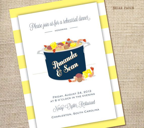 seafood boil couples shower or rehearsal dinner invitation