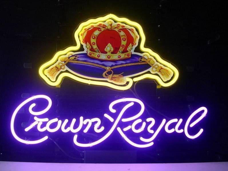 "17""x14""CROWN ROYAL BEER REAL GLASS NEON BAR PUB SHOP GAMEROOM LIGHT SIGN T327"