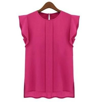 Women Blouses & Shirts Chiffon Clothing Summer Ladies Blouse/Shirt New 2017 Fashion Ruffle Short Sleeve 4 Colors Tops OL Blouse #chiffonshorts