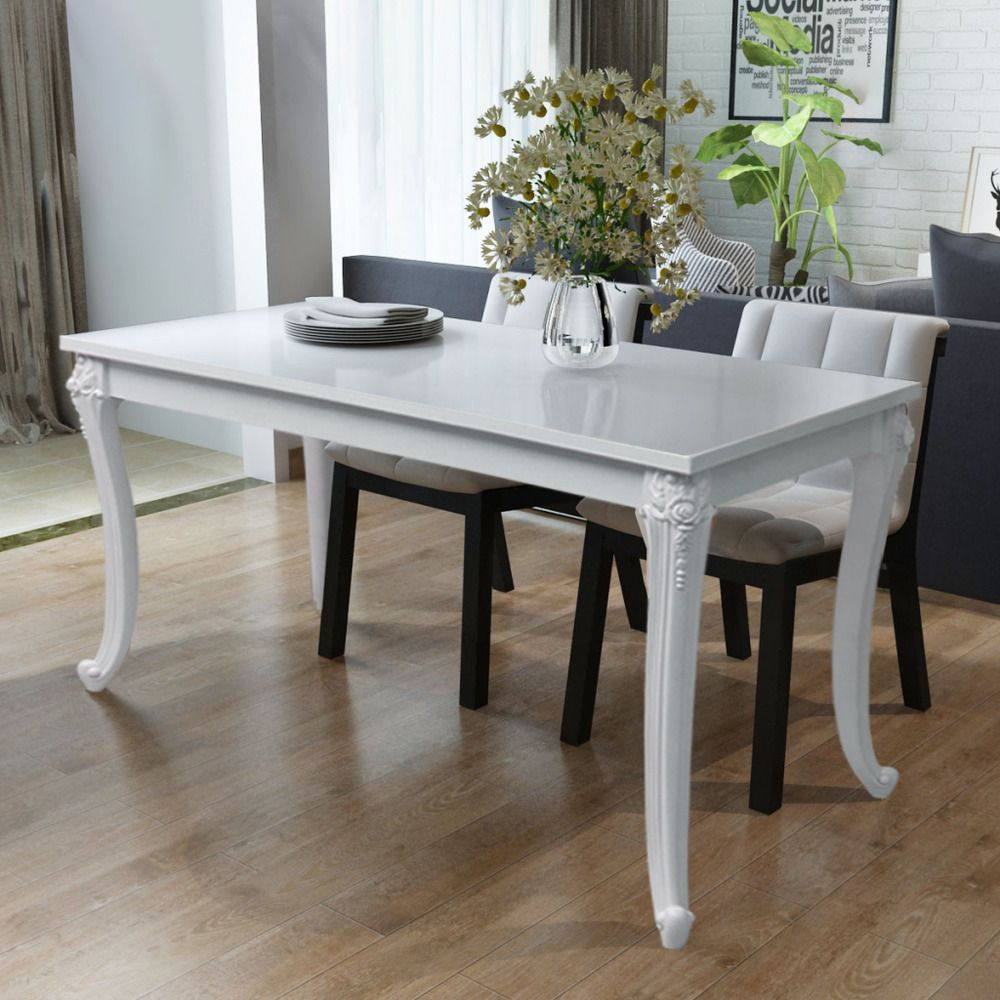 Dining Table Kitchen Furniture Wood White High Gloss