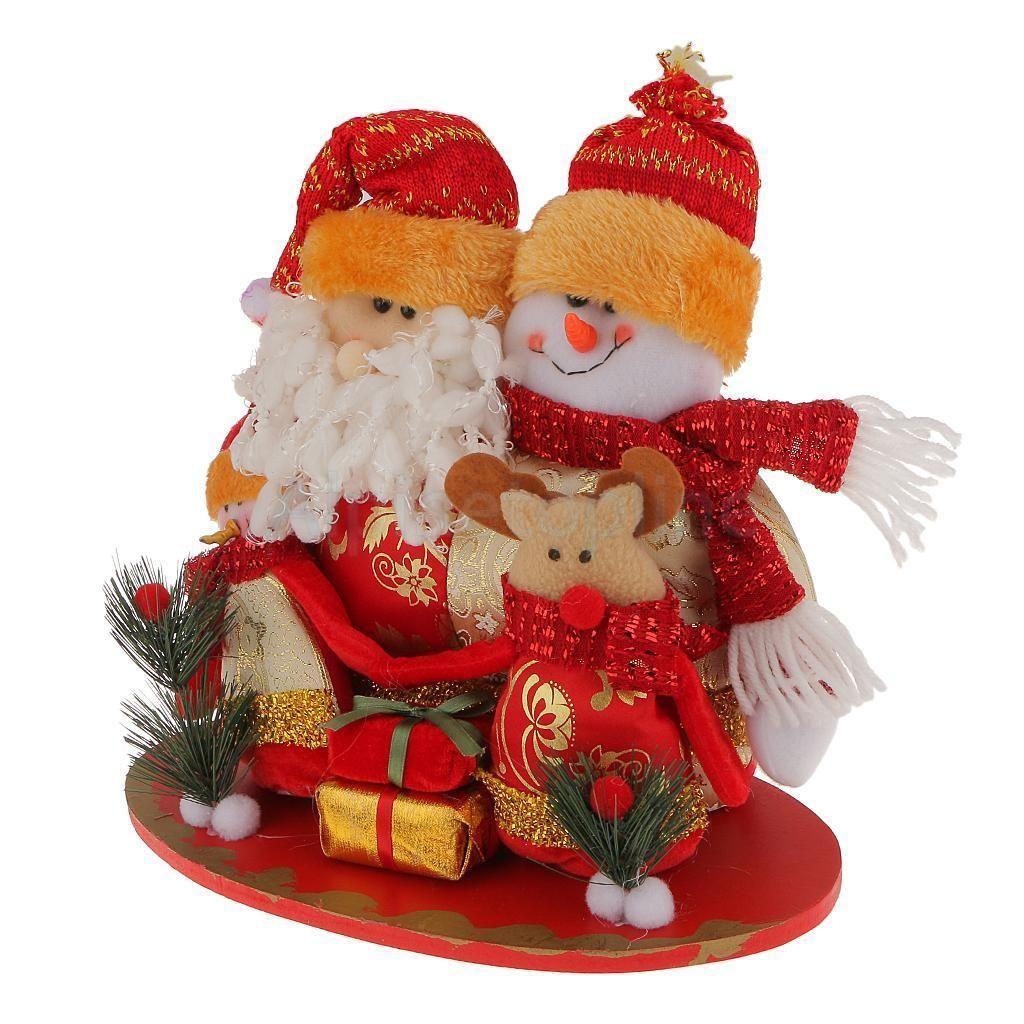 wooden reindeer santa free standing christmas family decoration ornaments - Free Standing Christmas Decorations