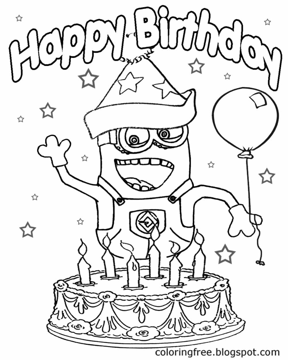 Big party cake with candles happy birthday minion coloring pages