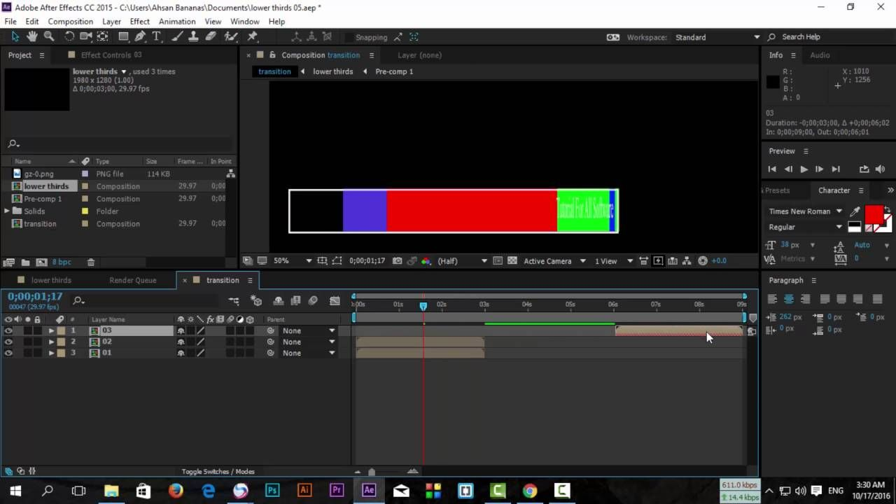 After Effects Cc 2017 2018 2019 Lower Thirds 06 Class 14