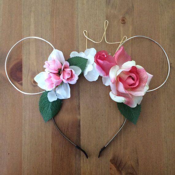 wire mouse ears  mickey ears  wire ear headband  flower headband  tiara crown  minnie rose