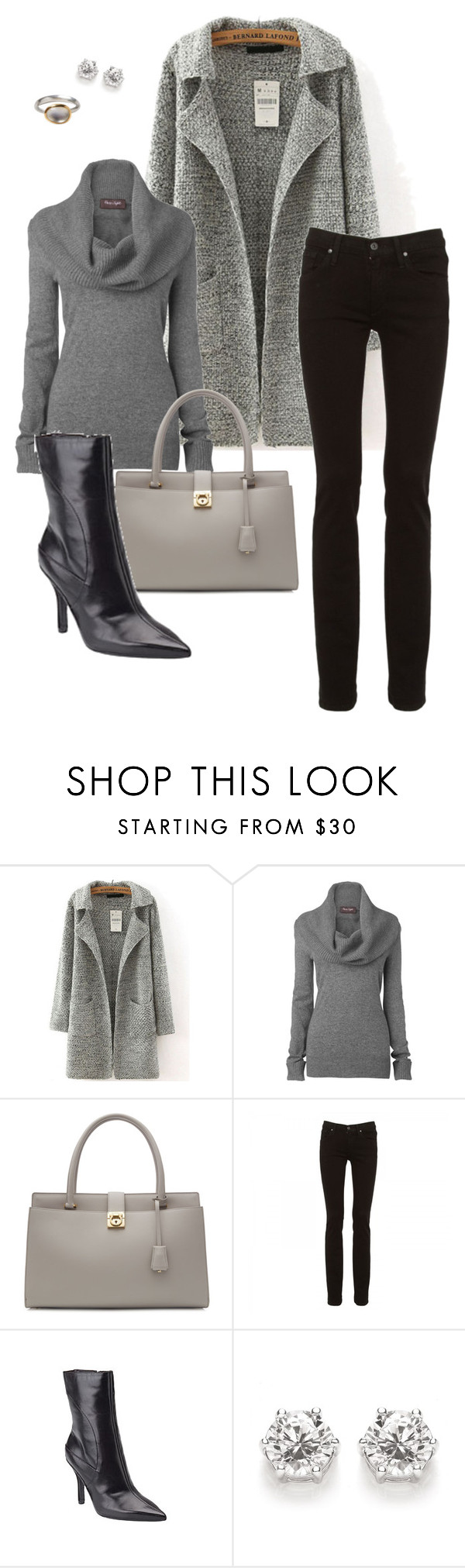 """""""Grey/Gray"""" by jjill ❤ liked on Polyvore featuring moda, Phase Eight, Salvatore Ferragamo, James Jeans e Nine West"""