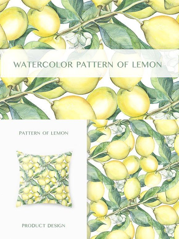Watercolor pattern of the lemons. Patterns