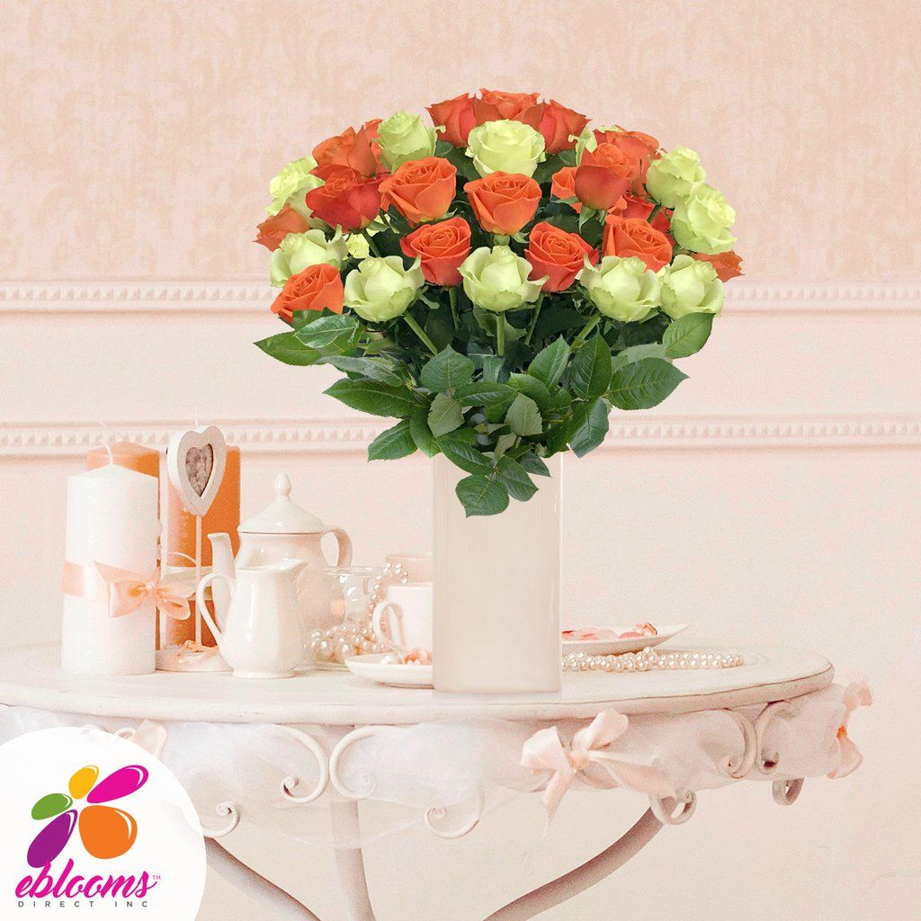 Orange and Green Roses EbloomsDirect Fresh Weddings