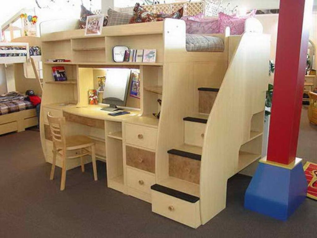 Bedroom Awesome Bed Desk Combo Diy Also Twin Bed With Desk Combo From 3 Tips For Choosing Bed Desk Combo Bunk Bed With Desk Loft Bed Plans Build A Loft Bed