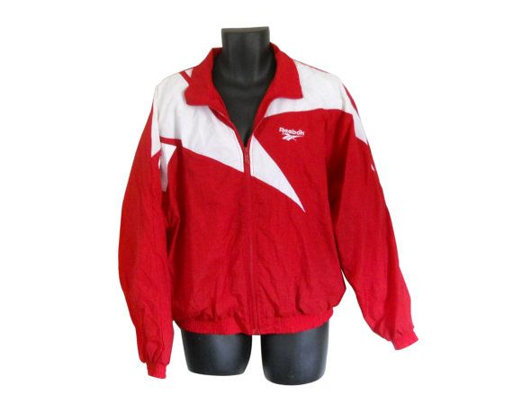 reebok vintage jacket. vintage 80s 90s men reebok windbreaker jacket red by #shinebrightvintage k