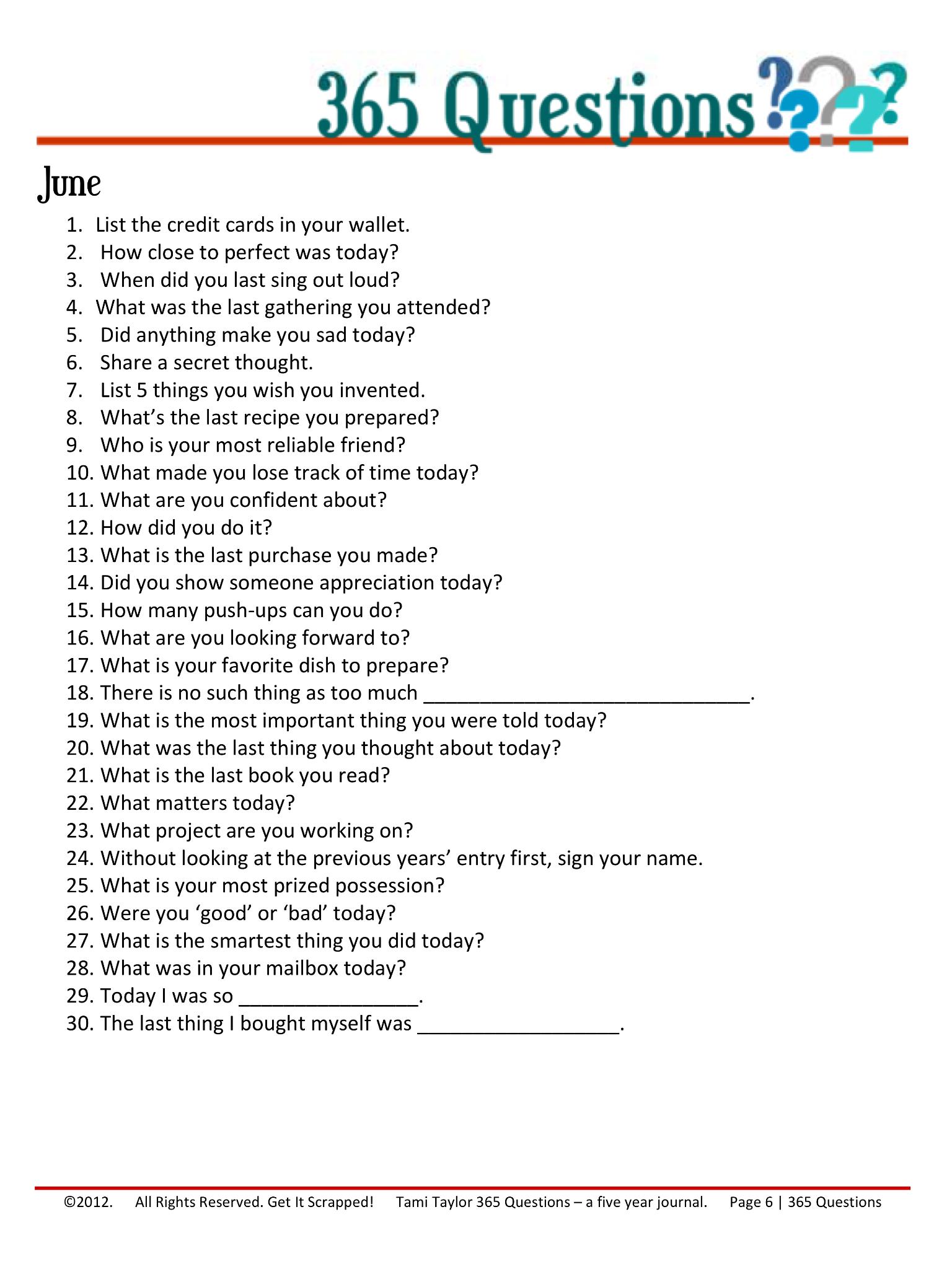 365 Questions June 6 12