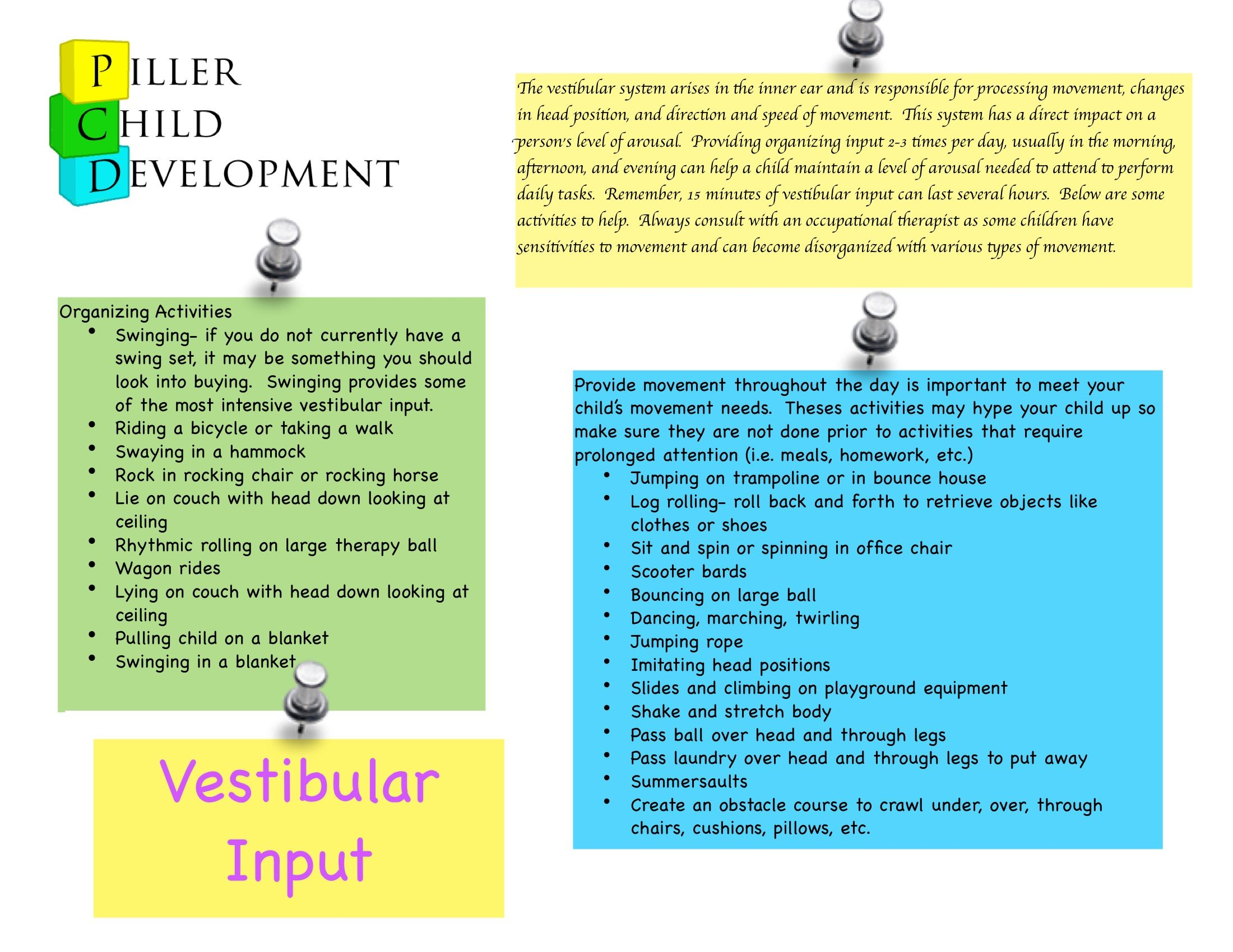 List Of Vestibular Activities For Home Gonna Use These For Home Programs For My Kids