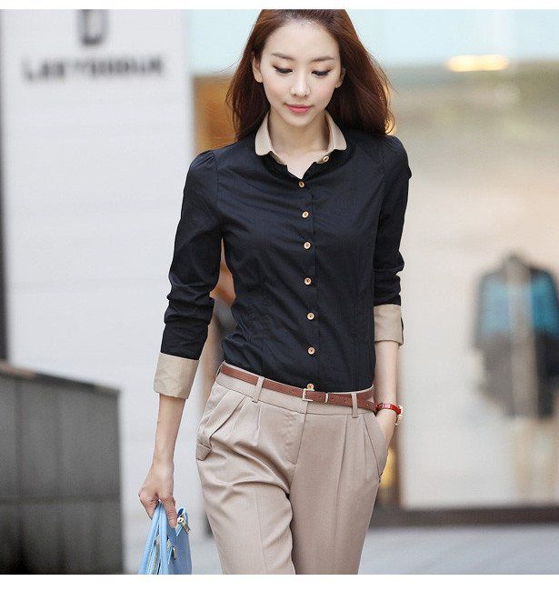 2012 OL fashion women slimming black work wear blouse V neck ...