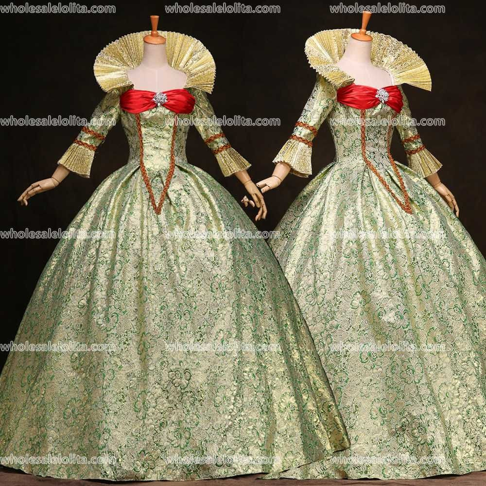 Click To Buy Top Sale 17 Century Green Printing Marie Antoinette Floor Lenght Rococo Princes Victorian Ball Gowns Printed Prom Dresses Masquerade Dresses