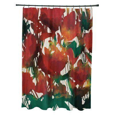 E By Design Abstract Floral Shower Curtain Scfn737bl38 Pinterest