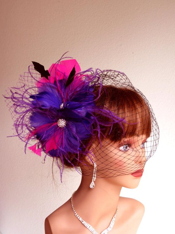 f86765ee9c7f Purple Hot Pink Wedding Hair Feather Clip Wedding Accessory Bridal Hair  Clip Wedding Hair Clip Vail