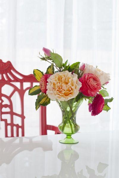 Most beautiful flowers ever...      FLOWER LIST:    Campanella Peach roses;  coral ranunculus;  pink ranunculus;  pink spray roses;  variegated elaeagnus