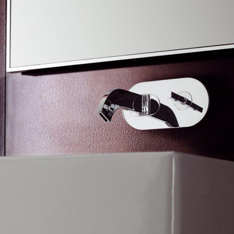 Treemme Waschtischmischer Wandauslauf Cut | vier Oberflächen wählbar ...